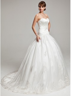 Ball-Gown Sweetheart Sweep Train Organza Satin Wedding Dress With Lace (002017560)