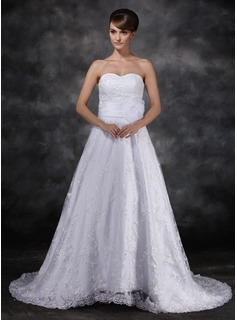 A-Line/Princess Sweetheart Sweep Train Organza Satin Lace Wedding Dress With Sashes Flower(s) Sequins (002017119)