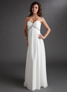 Corte imperial Escote corazón Vestido Chifón Vestido de novia con Volantes Bordado