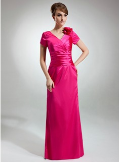Sheath V-neck Floor-Length Charmeuse Mother of the Bride Dress With Ruffle Flower(s) (008003491)