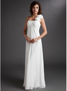 Empire One-Shoulder Floor-Length Chiffon Bridesmaid Dress With Ruffle Flower