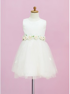 A-Line/Princess Scoop Neck Tea-Length Satin Tulle Flower Girl Dress With Flower(s)