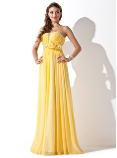 A-Line/Princess Sweetheart Floor-Length Chiffon Satin Prom Dress With Ruffle Beading Flower(s)