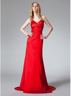 Sheath/Column Halter Sweep Train Charmeuse Prom Dress With Ruffle Beading