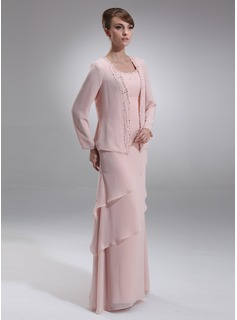 A-Line/Princess Scoop Neck Floor-Length Chiffon Mother of the Bride Dress With Beading (008006418)