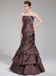 Trumpet/Mermaid Sweetheart Floor-Length Taffeta Evening Dress With Ruffle Flower(s)