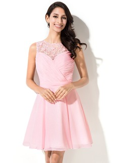 A-Line/Princess Scoop Neck Short/Mini Chiffon Lace Homecoming Dress With Ruffle Beading Flower(s) Sequins