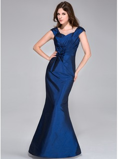 Trumpet/Mermaid Sweetheart Floor-Length Taffeta Bridesmaid Dress With Ruffle Flower