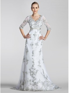A-Line/Princess V-neck Court Train Satin Lace Wedding Dress With Sashes Beadwork Sequins (002004151)
