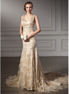 Mermaid V-neck Chapel Train Satin Lace Wedding Dress With Lace Beadwork (002000116)