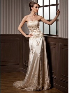 A-Line/Princess Sweetheart Court Train Charmeuse Tulle Wedding Dress With Ruffle Lace