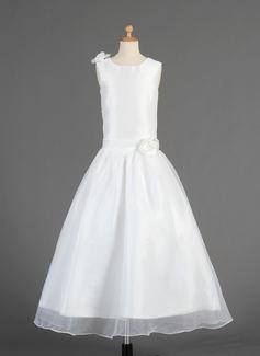 A-Line/Princess Scoop Neck Ankle-Length Taffeta Organza Flower Girl Dress With Flower(s)