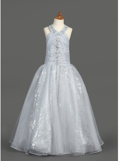 A-Line/Princess Halter Floor-Length Organza Sequined Flower Girl Dress With Ruffle Beading