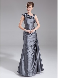 Sheath V-neck Floor-Length Taffeta Mother of the Bride Dress With Ruffle Appliques (008005672)