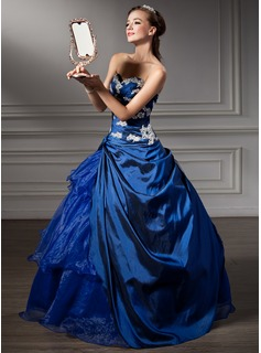 Ball-Gown Sweetheart Floor-Length Taffeta Quinceanera Dress With Beading Appliques Lace Sequins Cascading Ruffles