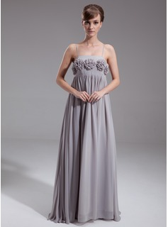 Empire Floor-Length Chiffon Maternity Bridesmaid Dress With Flower(s) (045024294)
