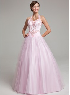 Ball-Gown Halter Floor-Length Tulle Quinceanera Dress With Lace Beading (021020615)