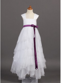 A-Line/Princess Square Neckline Floor-Length Tulle Charmeuse Flower Girl Dress With Sash