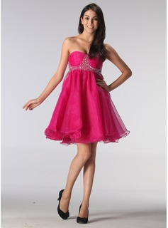 Empire Sweetheart Short/Mini Organza Holiday Dress With Ruffle Beading (020013080)