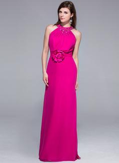 Vestido tubo Escote redondo Hasta el suelo Chifón Vestido de noche con Bordado Flores