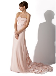 A-Line/Princess Sweetheart Court Train Chiffon Charmeuse Evening Dress With Ruffle (017026001)
