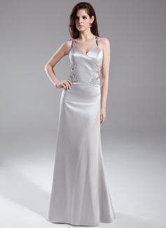 Sheath/Column V-neck Floor-Length Charmeuse Evening Dress With Beading