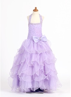 A-Line/Princess Scoop Neck Floor-Length Organza Charmeuse Flower Girl Dress With Beading Sequins (010007321)