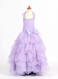 Corte A/Princesa Escote redondo Vestido Organdí Charmeuse Vestido para niña de arras con Bordado Lentejuelas Lazo(s) Cascada de volantes