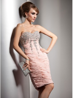 Sheath Sweetheart Knee-Length Chiffon Cocktail Dress With Ruffle Beading Sequins (016021188)