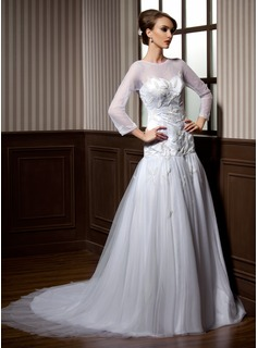 A-Line/Princess Scoop Neck Court Train Satin Tulle Wedding Dress With Beadwork (002004776)