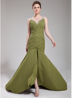 Trumpet/Mermaid Sweetheart Court Train Chiffon Evening Dress With Ruffle Beading Sequins