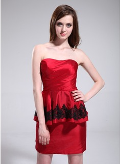 Sheath Sweetheart Short/Mini Taffeta Cocktail Dress With Ruffle Lace (016025379)