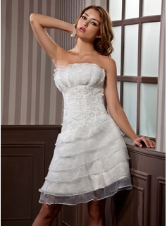 A-Line/Princess Scalloped Neck Knee-Length Satin Organza Wedding Dress With Ruffle Appliques Lace