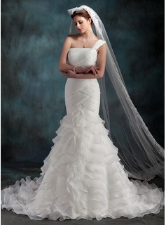 Mermaid One-Shoulder Chapel Train Organza Wedding Dress With Ruffle (002000623)