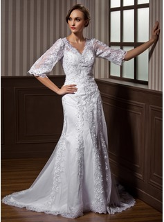 A-Line/Princess V-neck Court Train Satin Tulle Wedding Dress With Lace Beadwork (002011617)