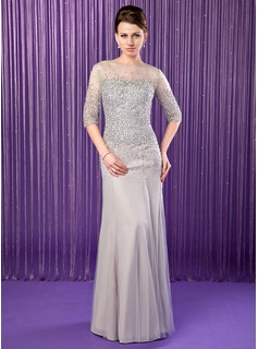 Mermaid Scoop Neck Floor-Length Chiffon Tulle Mother of the Bride Dress With Beading Sequins (008019704)