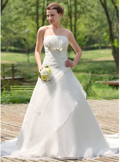 Ball-Gown Strapless Cathedral Train Organza Satin Wedding Dress With Ruffle Beadwork (002024692)