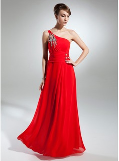 A-Line/Princess One-Shoulder Floor-Length Chiffon Mother of the Bride Dress With Ruffle Beading (008015369)
