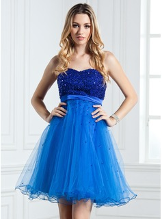 Empire Sweetheart Short/Mini Satin Tulle Homecoming Dress With Beading Sequins