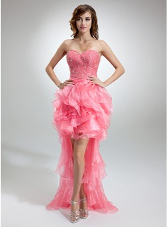 A-Line/Princess Sweetheart Asymmetrical Organza Charmeuse Prom Dress With Ruffle Beading (018016377)