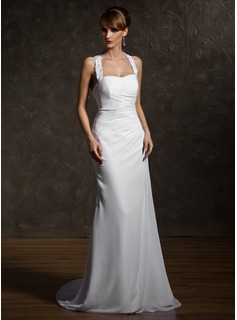 Sheath/Column Halter Court Train Chiffon Wedding Dress With Ruffle Beading Appliques Lace