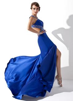 Corte A/Princesa Escote en V Barrer de tren Charmeuse Vestido de baile de promoción con Bordado Lentejuelas Apertura frontal