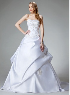 Ball-Gown Sweetheart Chapel Train Satin Wedding Dress With Embroidery Beadwork (002000459)