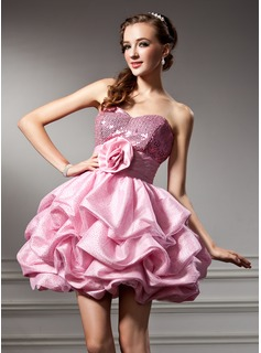 Empire Sweetheart Short/Mini Taffeta Sequined Homecoming Dress With Ruffle Flower(s)
