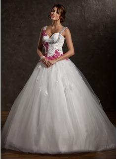 Ball-Gown Sweetheart Chapel Train Satin Tulle Wedding Dress With Ruffle Lace Appliques Bow
