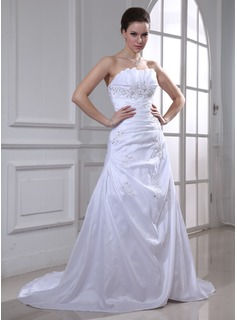 A-Line/Princess Scalloped Neck Chapel Train Taffeta Wedding Dress With Ruffle Lace Beadwork Sequins (002011934)
