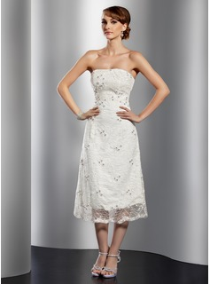 A-Line/Princess Strapless Tea-Length Satin Lace Cocktail Dress With Beading (016014741)