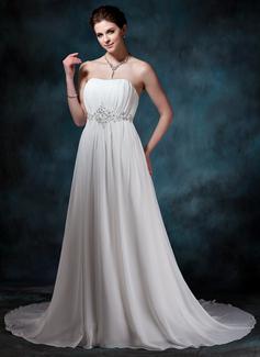 Corte A/Princesa Escote corazón Tren de la corte Chifón Vestido de novia con Volantes Bordado Lentejuelas