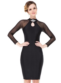 Sheath/Column Scoop Neck Knee-Length Tulle Jersey Cocktail Dress With Beading