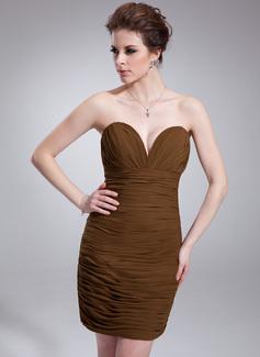 Sheath/Column Sweetheart Short/Mini Chiffon Cocktail Dress With Ruffle